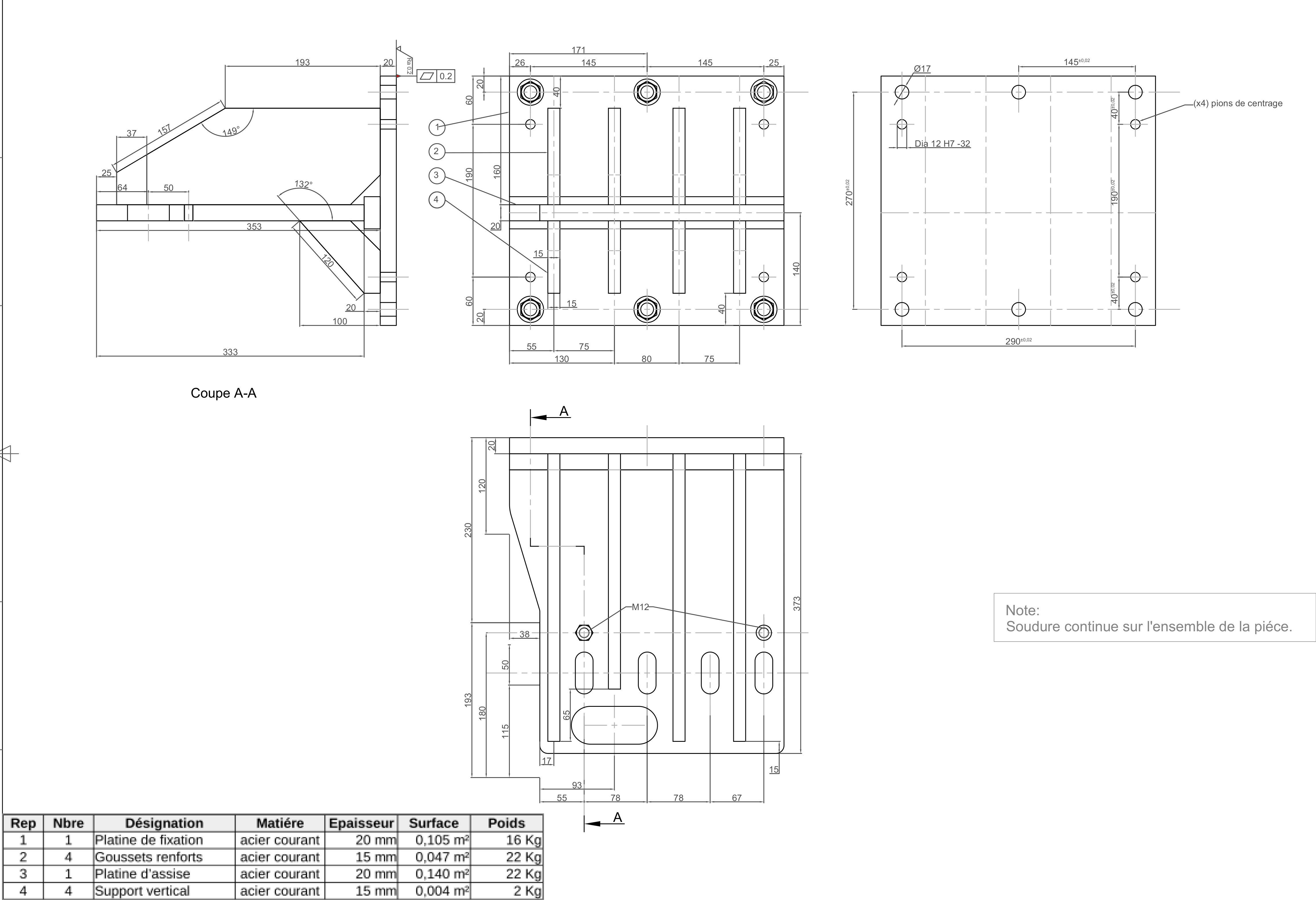 Plan fabrication support inverseur